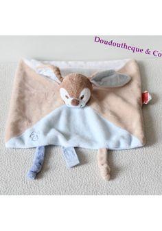 Doudou plat lapin NATTOU Emil et Rosy bleu beige attache tétine 25 cm