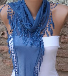 ON SALE - Blue Scarf  - Cotton  Scarf -  Cowl with Lace Edge   -
