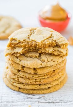 Big Soft & Chewy Peanut Butter Crinkle Cookies - Super chewy, packed with PB flavor & just made for breaking apart at the crinkly seams!