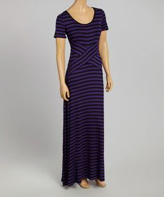Another great find on #zulily! Black & Purple Stripe Scoop Neck Maxi Dress by eci New York #zulilyfinds