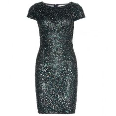 Alice + Olivia Taryn Sequin Dress (425 CAD) ❤ liked on Polyvore featuring dresses, vestidos, robes, short dresses, green, sequin dress, green cocktail dress, alice+olivia dresses, green dress and sequin embellished dress