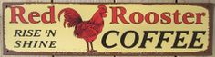 Red Rooster Coffee TIN SIGN vtg metal wall decor kitchen rustic chicken coop OHW