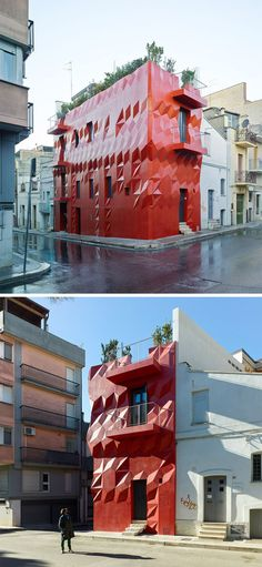 11 Red Houses And Buildings That Aren't Afraid To Make A Statement // 3D diamonds seem to pop off the exterior of this bright red building and make it stand out from its neighbours even more.