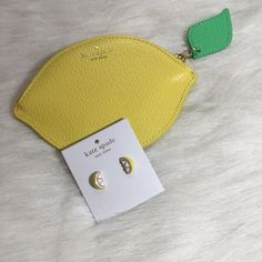 """Kate Spade Lemon Earrings Kate Spade lemon stud earrings. Shiny 12 karat gold plated metal with enamel fill. Epoxy and glass stones. 14 karat gold filled posts. 0.5"""". Yellow and white. This listing is for earrings only. kate spade Jewelry Earrings"""