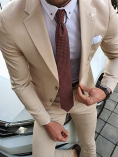 Available Size: Suit Material: viscose, polyester, elestan Machine Washable: No Fitting: Slim-Fit Cutting: Double Slits, Double Button Package Include: Suit Clothes: Jacket and Pants Beige Suits For Men, Beige Suits Wedding, Grey Suits, Classy Suits, Classy Men, Designer Suits For Men, Designer Clothes For Men, Graduation Suits, Expensive Suits