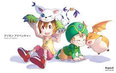 Pixiv Id 12840597, Digimon Adventure, Yagami Hikari, Takaishi Takeru, Patamon, Gatomon