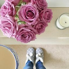 Good morning! Hope you have a lovely day x #behindthescenes #roses #tea #morning #home #ilovetea #slippers