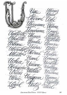 Calligraphy Tattoo Fonts, Tattoo Lettering Styles, Calligraphy Worksheet, Chicano Lettering, Tattoo Script, Calligraphy Letters, Tattoo Ink, Hand Lettering Alphabet, Script Lettering