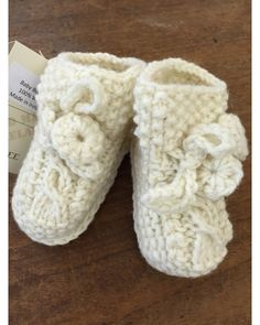 Handknitted Aran Baby Bootees