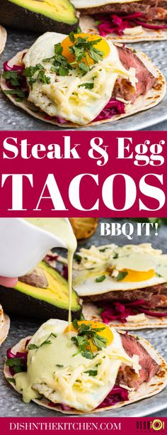Egg Tacos with Grilled Steak are the ultimate weekend luxury breakfast, lunch, or dinner. This spin on steak and eggs pairs grilled steak with a perfectly fried egg in a taco. Served with a delicious Aji Verde. #eggtacos #breakfast #steakandeggs #huevosrancheros Brunch Recipes, Meat Recipes, Wine Recipes, Slow Cooker Recipes, Healthy Dinner Recipes, Mexican Food Recipes, Crockpot Recipes, Breakfast Recipes, Steak And Eggs