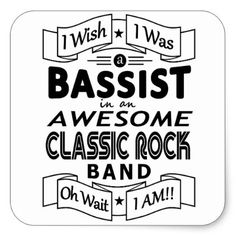BASSIST awesome classic rock band (blk) Square Sticker - metallic style stylish great personalize