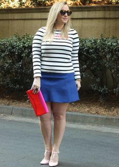 Kate Spade Stripe Shirt JCrew Fluted Mini Skirt Valentine's Day Outfit