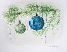 I've done something else that I said I would never do — a commission! One of my friends asked me to do a painting with a blue Christmas ornament and a tree branch. I stressed and frett… Painted Christmas Cards, Christmas Tree Drawing, Watercolor Christmas Cards, Christmas Paintings, Blue Christmas, Christmas Ornaments, Christmas Mantles, Xmas, Beach Christmas