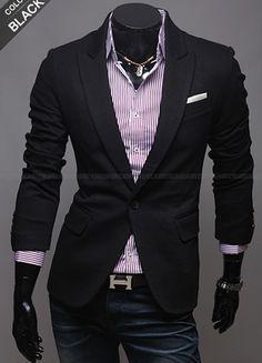Long Sleeve One Button Men Black Blends Suit M/L/XL @X12158901b