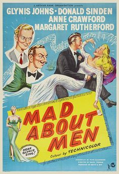 Mad About Men Stars: Glynis Johns, Donald Sinden, Anne Crawford, Margaret Rutherford, Dora Bryan ~ Director: Ralph Thomas Old Movies, Vintage Movies, Glynis Johns, Margaret Rutherford, Dora, Mermaids And Mermen, Going On Holiday, Merfolk, Great Films