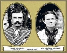 """""""Henry M. Hollingsworth and Larrisa Enloe Sullivan Hollingsworth (about 1893).""""   A great deal of detailed, primary family history following this line of descendants from Levi Hollingsworth, as proven by DNA evidence, is set out on this web site.  It may be of interest to Hollingsworth Families in the Tennessee area."""