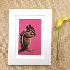 How sweet is this framed needle felted chipmunk?