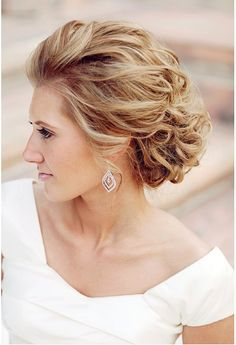 Wedding hair, messy curled updo