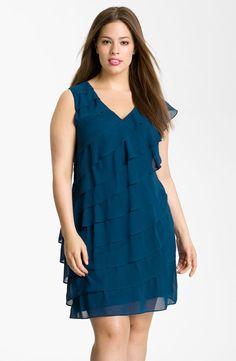 Adrianna Papell Diagonal Ruffle Chiffon Dress (Plus)