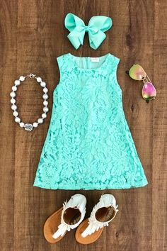 Mint Lace Tank Dress