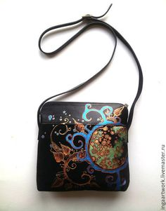 Hand-painted leather bags, gloves, wallets, silk ties by InGAartWork Leather Purses, Leather Bag, Black Leather, Painted Bags, Hand Painted, Special Gifts For Her, Leather Gifts, Handmade Handbags, Painting Leather
