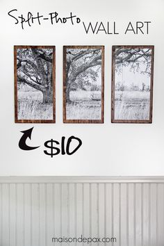 I love this wall art! Split photo black and white mounted on wood. DIY Triptych | maisondepax.com