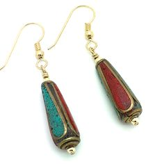 """Southwest Beauties are Turquoise, Red Coral and Bronze Beads with Gold Fill Small Round Beads, Ear Hooks and Wire Wrap. Earrings Hang Approximately 1 7/8"""" From top of Hook. Product #16-073"""