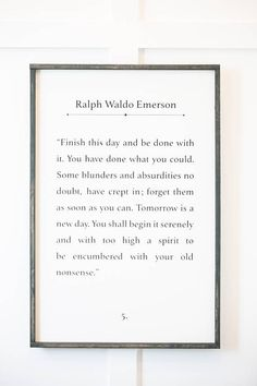 Ralph Waldo Emerson Quote  Finish This Day  Wood Sign | Etsy