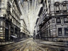 By Valerio D'Ospina, incredible oil paintings that have such an amazing, dramatic perspective angle. The very plain, almost mono-tone colour palette is just perfectly fitting for the architectural structures in the paintings.