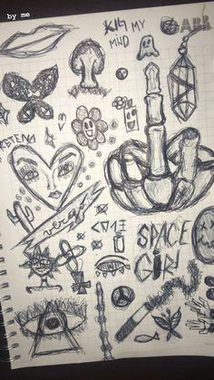 Indie Drawings, Sketchbook Drawings, Art Drawings Sketches Simple, Doodle Drawings, Arte Grunge, Grunge Art, Arte Indie, Indie Art, Art Inspiration Drawing