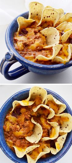 Quick chili! So easy to make. Top with cheese and use tortilla chips to dip for even more deliciousness. #chili