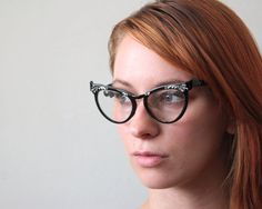 vintage 1950's starburst cat eye glasses