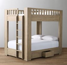 RH Baby & Child's Callum Storage Bunk Bed:A space-saving silhouette gets a modern makeover. With its platform-style bottom bunk and stout corner posts, our inspired bunk bed combines tried-and-true functionality with the best of modern design.