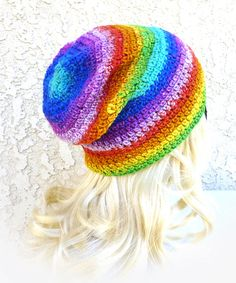 aea057fb4df Womens beanie Festival Beanie Slouchy Rainbow Beanie crochet hat Festival  wear rainbow hat LGBT Pride hat
