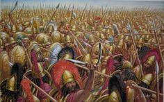 Spartan Hoplites at the second battle of Koroneia, 394 BC. Artwork by Giuseppe Rava.