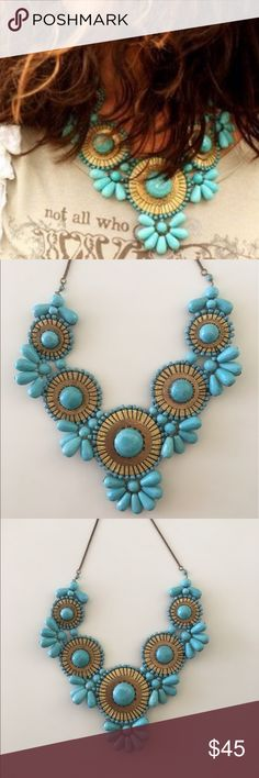 Turquoise Sea Bib Statement Necklace NWT! Breathtakingly Stunning Handcrafted Turquoise Sea Bib Medallion Necklace. Features turquoise glass beads and gold metal wire wrapped medallions. Perfect for pairing with jeans and a white tank or a formal occasion with a black dress and heels. PRICE FIRM UNLESS BUNDLED!  Product Features: *Unique features: Goldtone metal chain complements the bib pattern. *Materials: Glass beads *Clasp: Lobster claw *Dimensions: 24 inches adjustable to 26 inches…