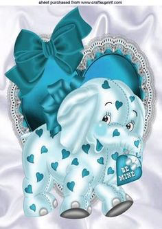 Turq elephant on frill heart with bow A4 on Craftsuprint - Add To Basket!