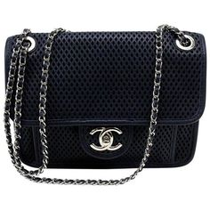 4b6eb12c981a Chanel Navy Blue Perforated  Up in the Air  Small Flap Bag