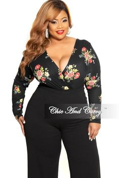 bc6b6ae4747 New Plus Size Long Sleeve Faux Wrap Bodysuit in Black Floral Print – Chic  And Curvy