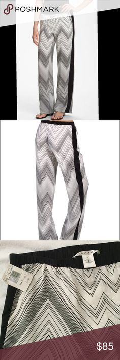 Trina Turk wide leg pants, Size 6. NWT Trina Turk fully lined, 100% silk, wide leg pants with black and white chevron print, front slant pockets. Women's size 6. NWT. Trina Turk Pants Wide Leg