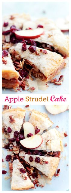 This beautiful Apple Strudel Cake is a fun take on the classic Apple Strudel dessert, filled with a deliciously spiced apple cranberry filling.
