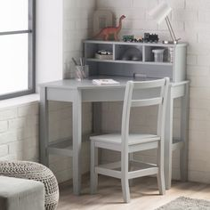 Find Classic Corner Desk And Reversible Hutch With Chair, Neutral Gray finish online. Shop the latest collection of Classic Corner Desk And Reversible Hutch With Chair, Neutral Gray finish from the popular stores - all in one Kids Corner Desk, White Corner Desk, Small Room Desk, Small Game Rooms, Desks For Small Spaces, Corner Table, Kid Desk, Corner Hutch, Desk Set
