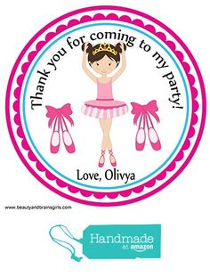Ballerina Custom Birthday Party Favor Stickers - Treat Tag Toppers- 24 Stickers Popular Size 2.5 Inches. Peel- and- Stick Backing Self-Adhesive…