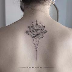 Geometric lotus tattoo by Emrah Ozhan #fineline #EmrahOzhan #blackandgray #blackandgrey #finelineblackandgrey #minimalistic #linework #small #geometric #flower #lotus