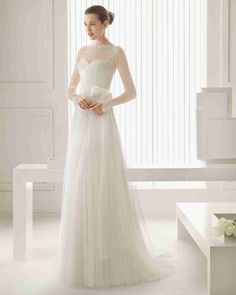 Wishesbridal Romance Illusion Long Sleeve #ALine #WeddingDress Aro0094