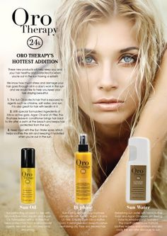 ORO Therapy 24K gold products. A must have for anyone who spends time in the Sun. Protect your hair with the newest ORO products from Fanola. www.amrhair.com.au Hair And Beauty Salon, Top Hairstyles, Beauty Quotes, Hair Inspo, Healthy Hair, Hairdresser, Mascara, Your Hair, Salons