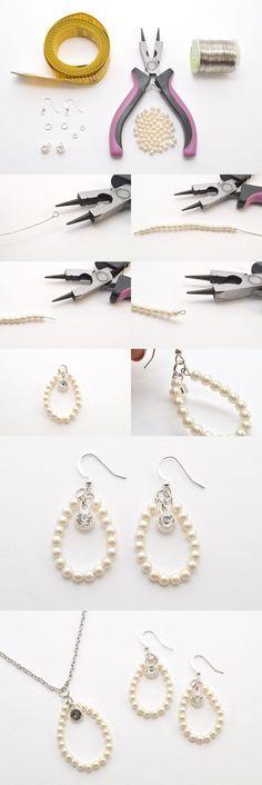 DIY Jewelry Set – Elegant Pearl Earrings and Necklace - DIY Jewelry Vintage Ideen Diy Jewelry Set, Diy Jewelry Tutorials, Jewellery Storage, Jewelry Bracelets, Jewelry Making, Jewellery Shops, Pandora Bracelets, Trendy Jewelry, Jewellery Box