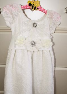 Girls white lace flower girl dress by cookiesandcostumes on Etsy, $75.00
