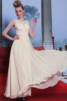 Gorgeous Champagne a-line Evening dress