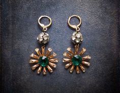 Vintage Emerald Rhinestone Daisy Assemblage Dangle by BevaStyles
